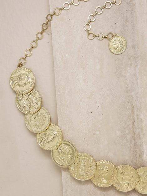 Roman Coin Body Jewelry Statement Belt in Gold - My Bikini Flex