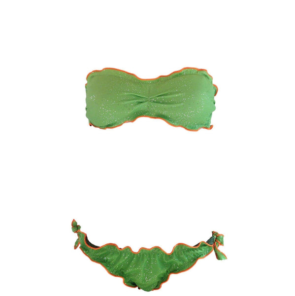 Green Adjustable Swimsuit Ruffle Trim Reversible Bikini (UPF50+) - My Bikini Flex