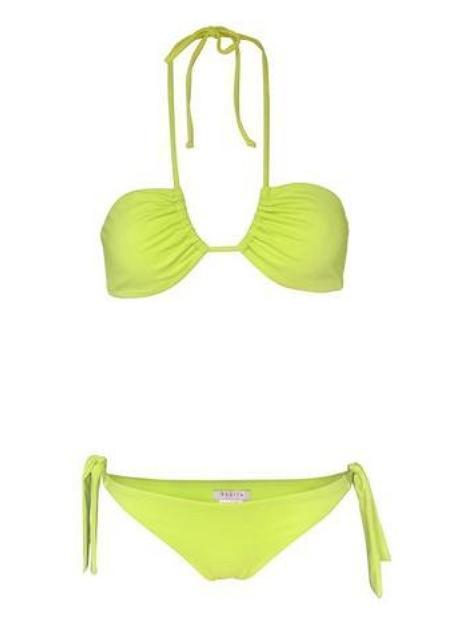 Neon Lime Green Halter Top Swimsuit Tie Side Bikini Bottom (UPF50+) - My Bikini Flex