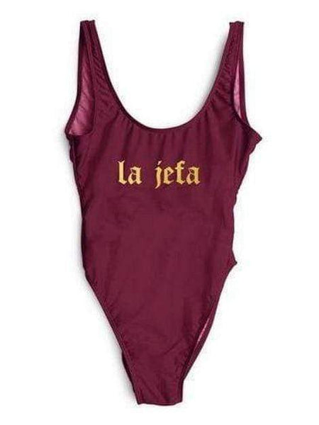 "Monokini Letter ""Boss - La Jefa"" Wine Red One Piece Bikini Swimsuit - My Bikini Flex"