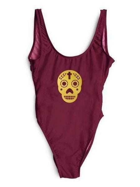 """Calavera Fiesta"" One Piece Burgundy Red Bikini Swimsuit - My Bikini Flex"