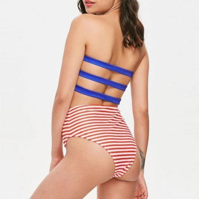 Sexy American Flag Print Bandeau Top Swimsuit With Bikini Bottom - My Bikini Flex