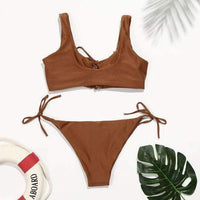 Sexy Brown Tie Top & Bottom Side Swimsuit Bikini Bottom - My Bikini Flex