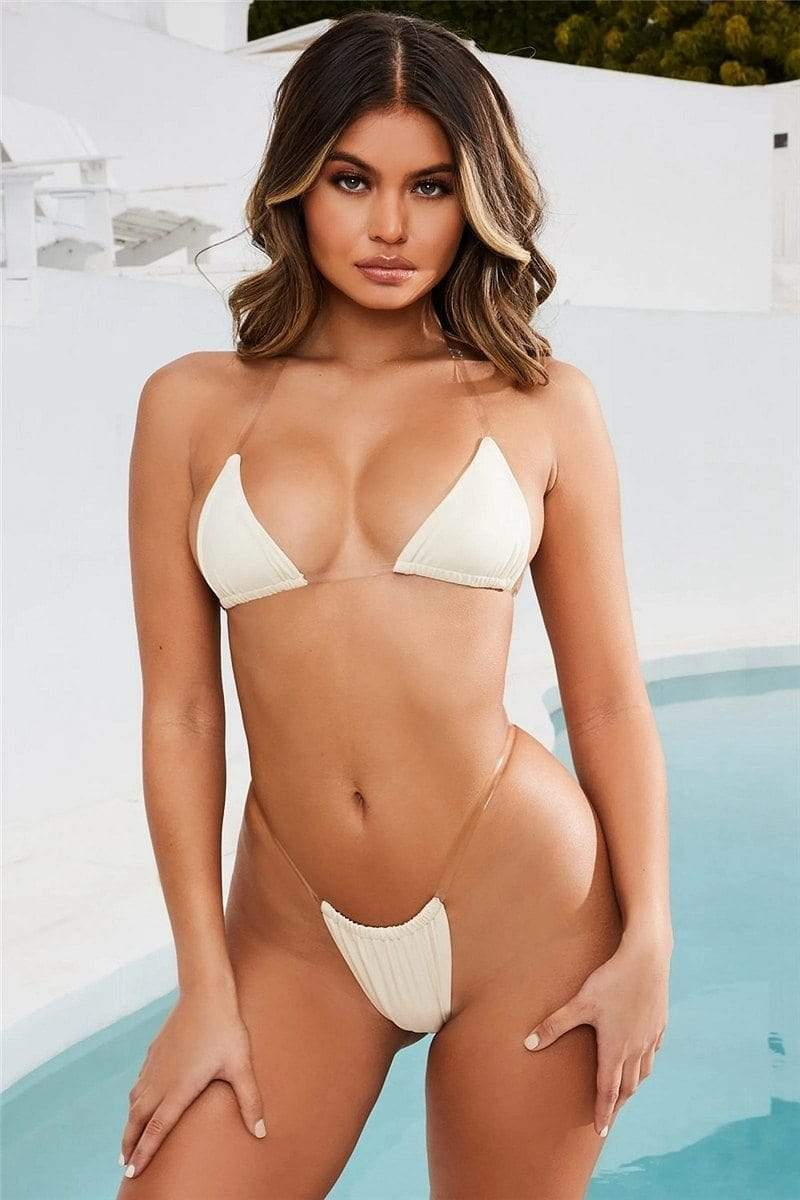 Sexy Invisible Strap Two Piece Thong Swimsuit Microkini Bikini - My Bikini Flex