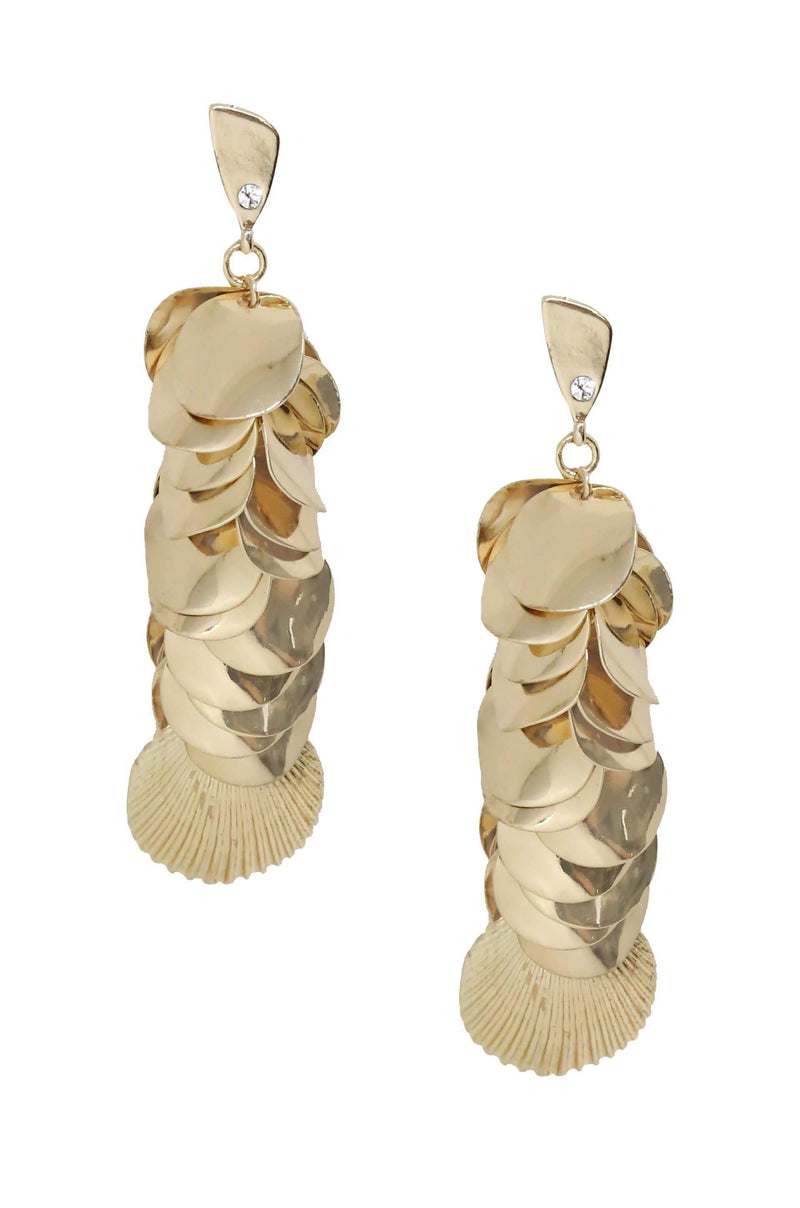 Shell Cluster Earrings in Gold - My Bikini Flex