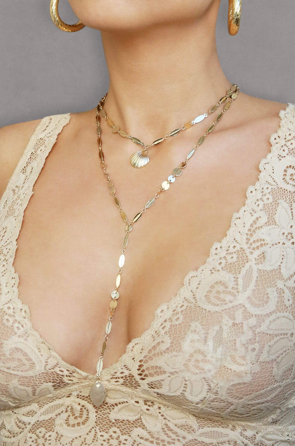 Shell Layered Drop Necklace in Gold - My Bikini Flex