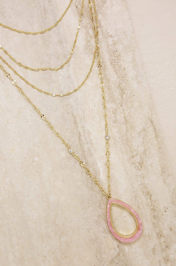 Simply Chic Teardrop Pink Resin Layered Necklace - My Bikini Flex