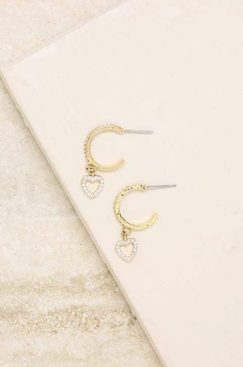 Small Crystal Heart Dangle Hoop in Gold - My Bikini Flex