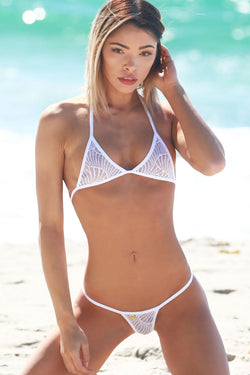 Lace White See Through Swimsuit Halter G-String Thong Bikini Bottom - My Bikini Flex