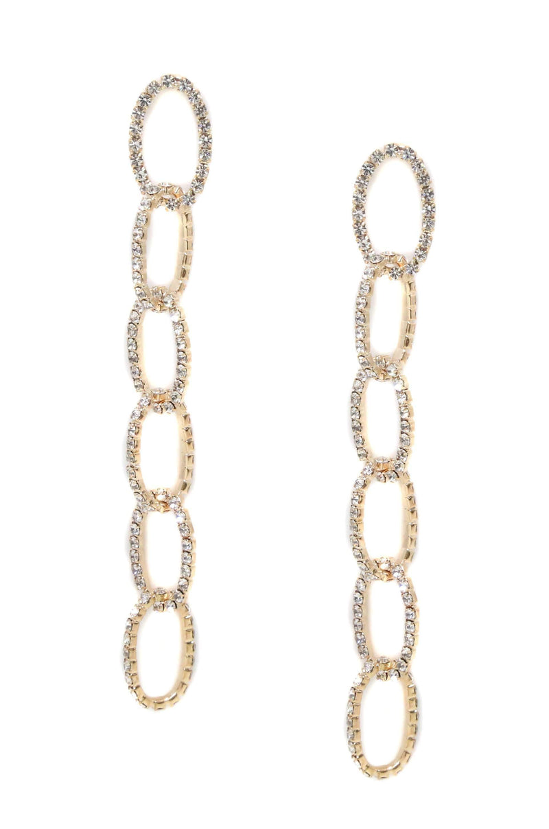 Sparkle Chain Link Drop Earrings in Gold - My Bikini Flex