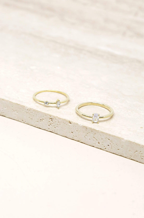 Stackable Crystal & Thin Band Gold Ring Set - My Bikini Flex