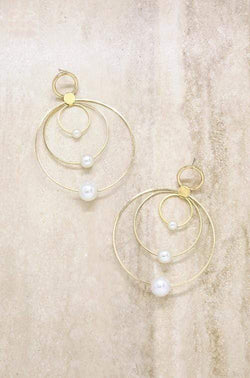 Statement Pearl and Multi Hoop Earring in Gold - My Bikini Flex