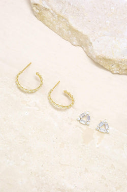 Stud & Hoop Earring Set in Clear and Gold - My Bikini Flex