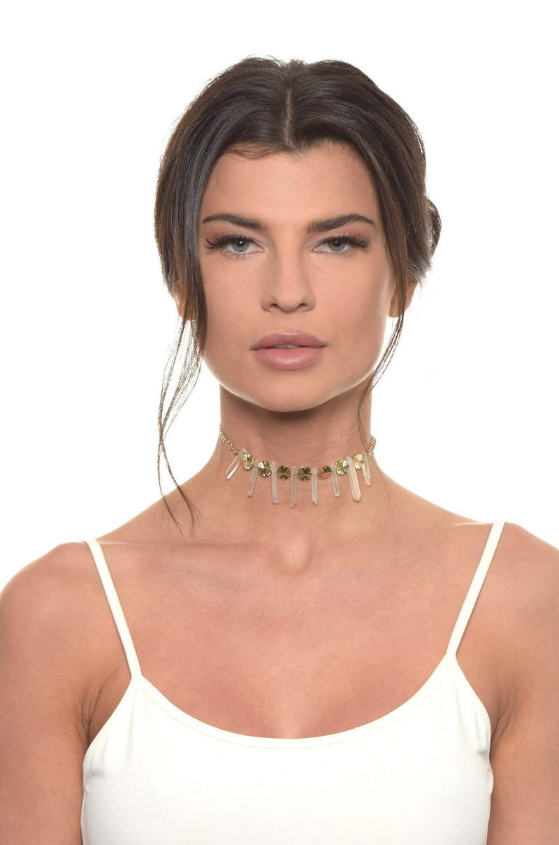 The Crystal Cove Choker Necklace In Gold - My Bikini Flex