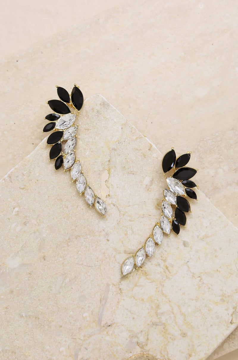 The Daring Statement Earrings in Black Crystal - My Bikini Flex
