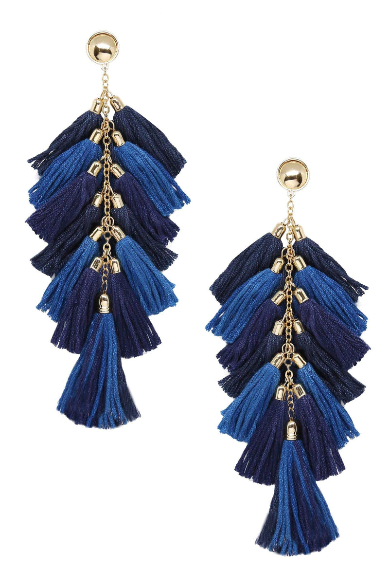 Time to Tassel Earrings in Navy and Gold - My Bikini Flex