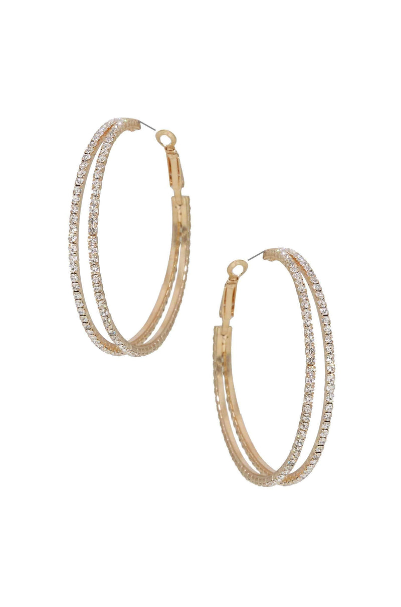 Two Lane Crystal Hoop Earrings - My Bikini Flex