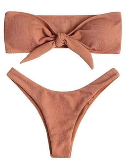Two Piece Khaki Push Up Swimsuit Knot Front Bandeau Bikini - My Bikini Flex