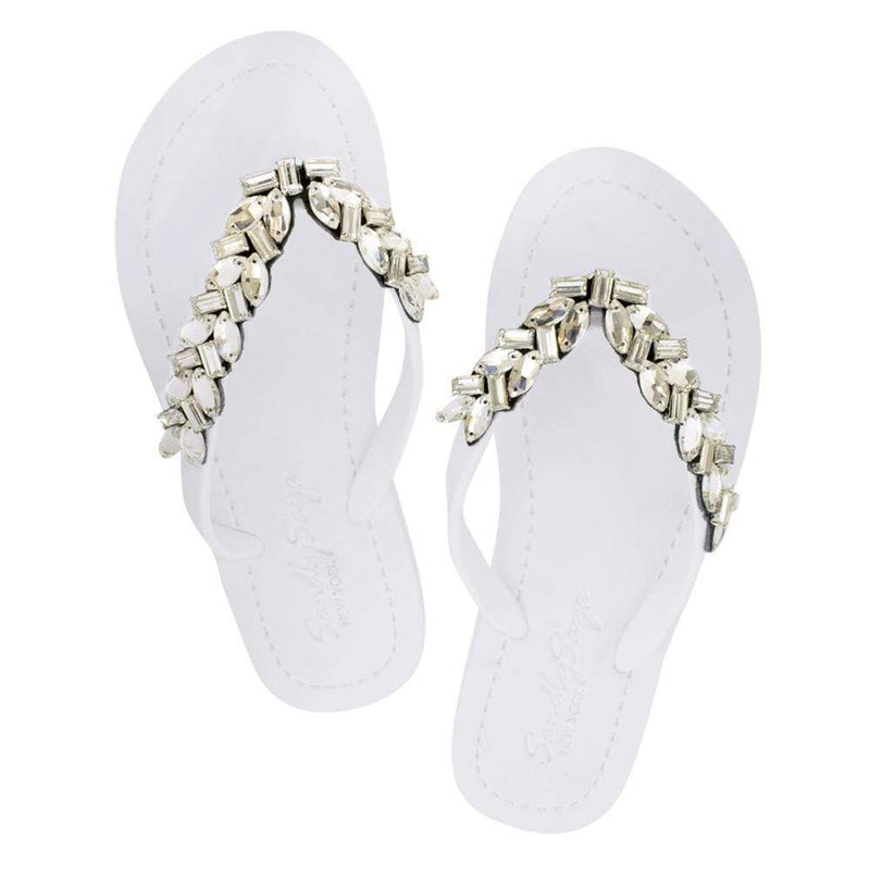White Handmade Flat Sandal With Full Gold Motif Flip Flop Shoe - My Bikini Flex