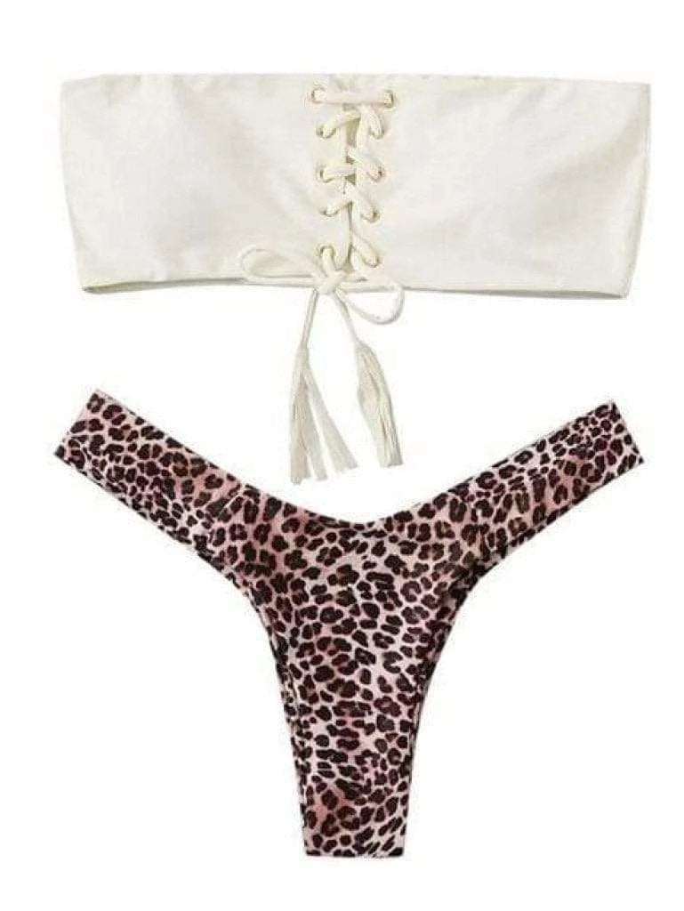 White Bandeau Swimsuit Top With Leopard Print Thong Bikini Bottom - My Bikini Flex