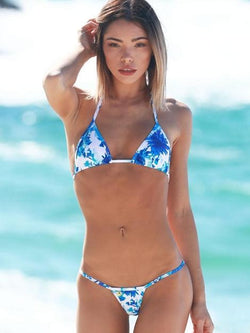 White Blue Floral Swimsuit Halter Low Rise String Thong Bikini Bottom - My Bikini Flex