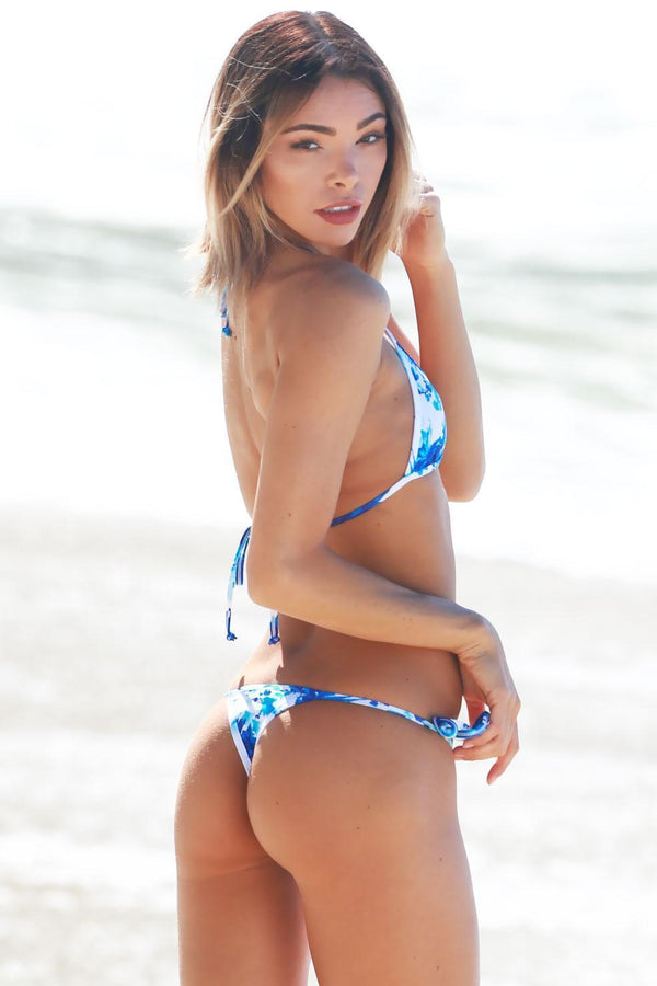 White Blue Floral Swimsuit Halter With Tonga Tie Thong Bikini Bottom - My Bikini Flex