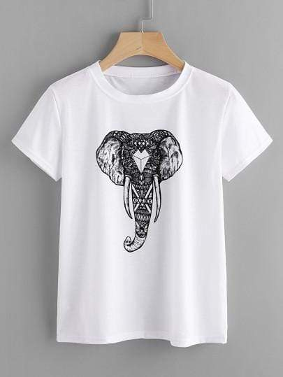 White Ornate Elephant Print T-Shirt - My Bikini Flex