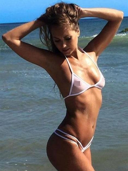 White Sheer Double Strap See Through Swimsuit G String