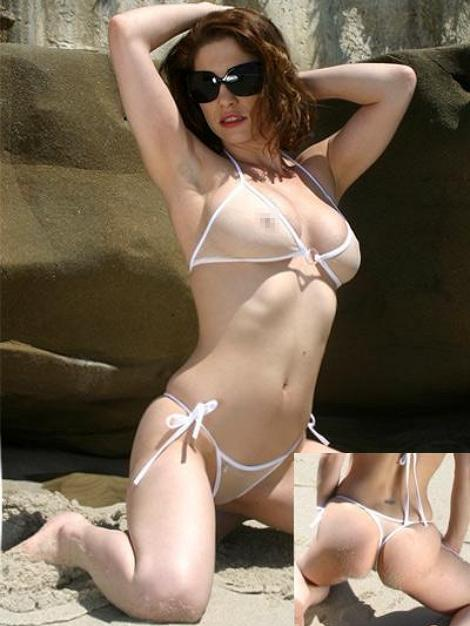White Swimsuit Sheer See Through Halter Top Tie Thong Bikini Bottom - My Bikini Flex
