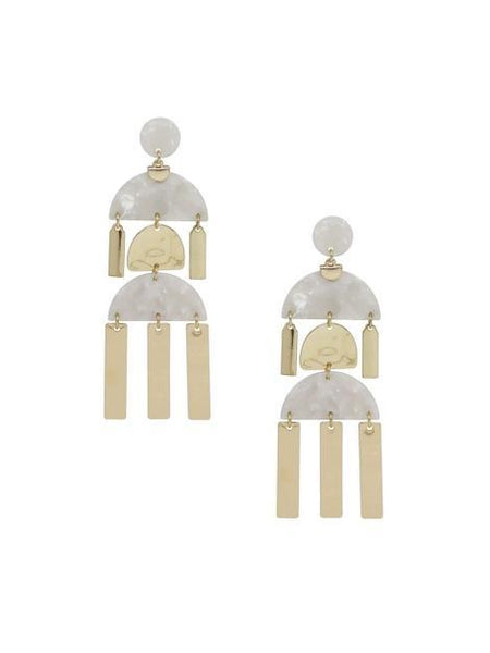 Women's 18kt Gold Plated Long Geometric Dangle Earrings - My Bikini Flex
