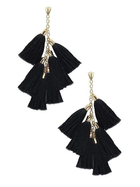 Women's Black and Gold Daydreamer Tassel Earrings - My Bikini Flex