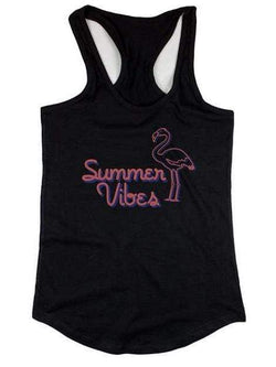 "Women's Black ""Summer Vibes"" Flamingo Tank Top - My Bikini Flex"