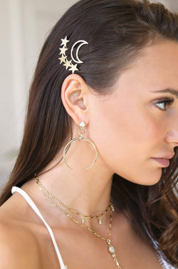 Women's Brass Gold Crescent Drop Earrings - My Bikini Flex