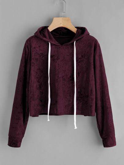Women's Burgundy Velvet Drawstring Crop Hoodie - My Bikini Flex
