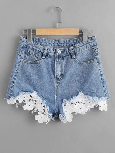 Women's Contrast Crochet Frayed Hem BlDenim Shorts - My Bikini Flex