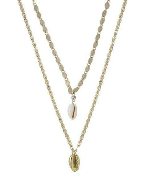 Women's Double Cowrie Shell Layered Necklace Set - My Bikini Flex