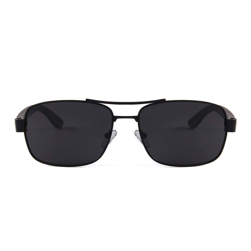Women's Ebony Wood Black Frame Slim Aviator Sunglasses - My Bikini Flex