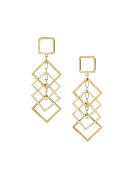 Women's Gold Dangling Diamond Shape Drop Earrings - My Bikini Flex