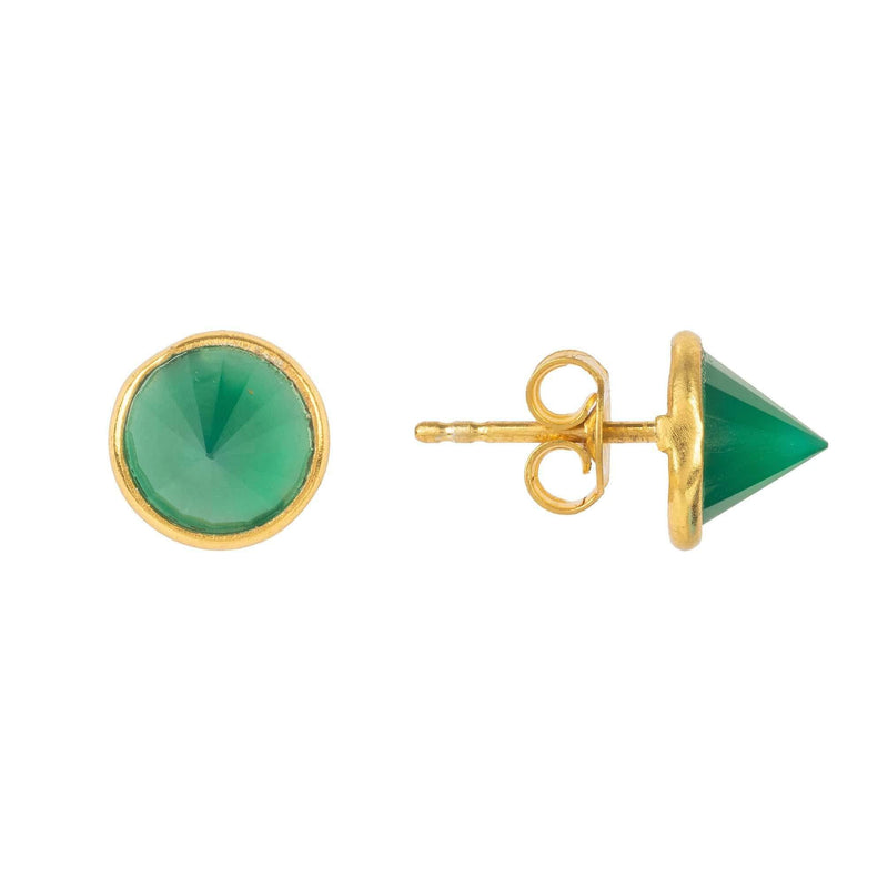 Women's Gold Green Onyx Pia Gemstone Spike Stud Earrings - My Bikini Flex