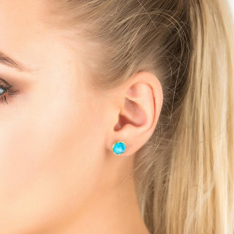 Women's Gold Turquoise Pia Gemstone Spike Stud Earrings - My Bikini Flex