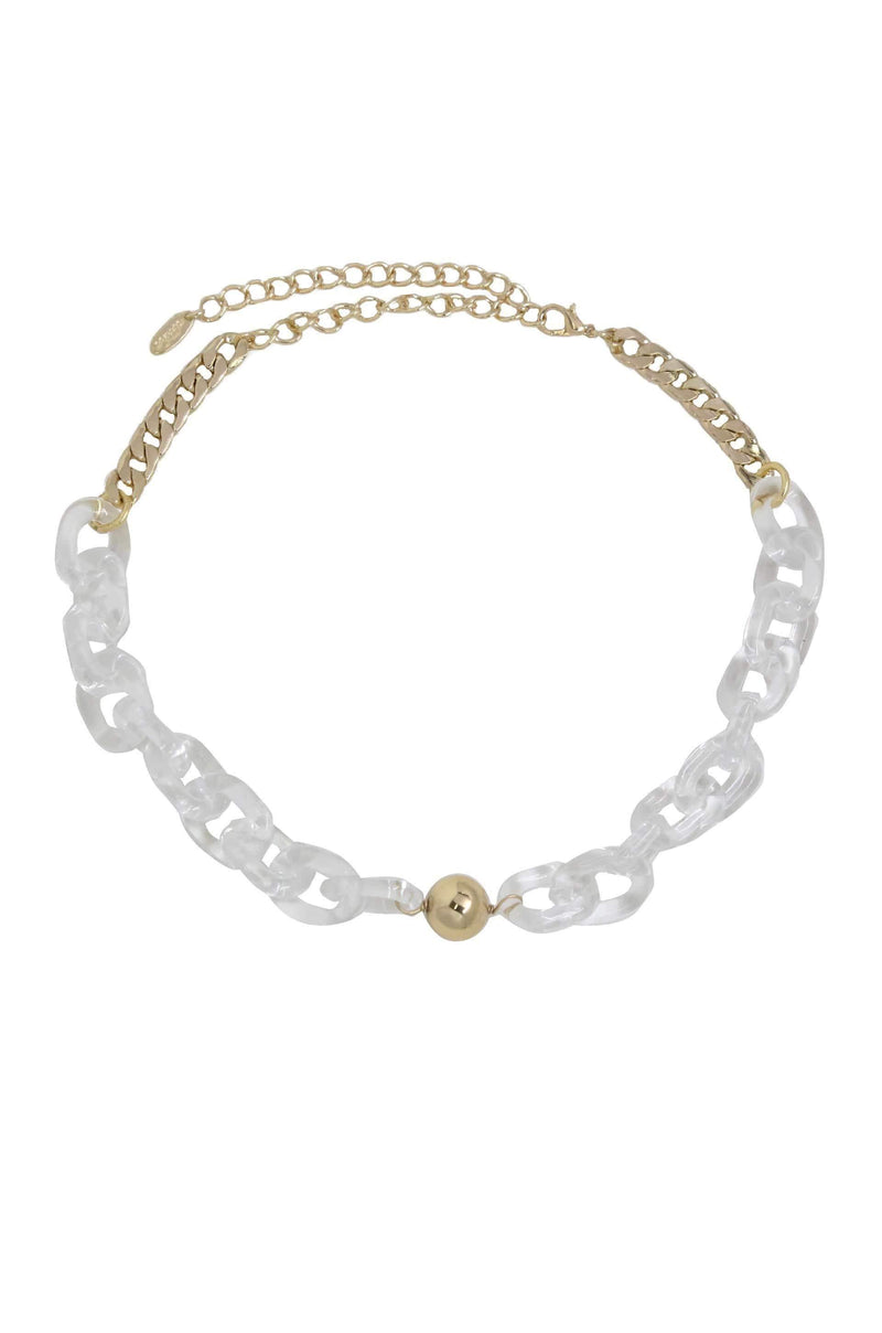 Women's Gold With Clear Links Necklace - My Bikini Flex