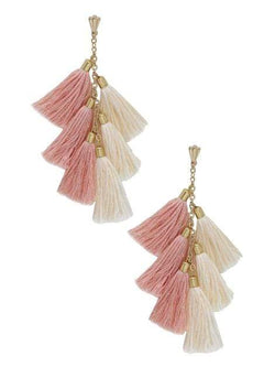 Women's Peach and Gold Daydreamer Tassel Earrings - My Bikini Flex