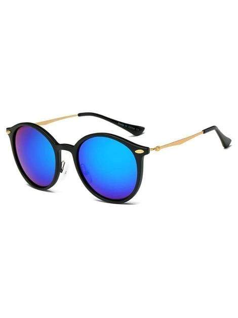 Women's Retro Horn Rimmed Keyhole Bridge Blue Round Sunglasses - My Bikini Flex