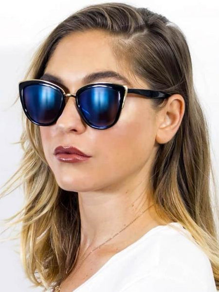 Women's Vintage Retro Sleek Oversized Blue Cat Eye Sunglasses - My Bikini Flex