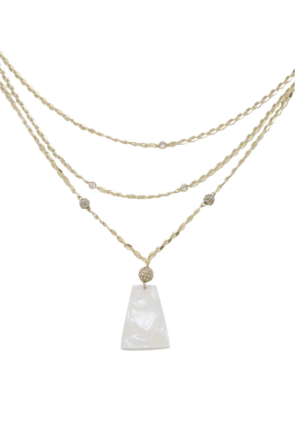 Women's White Resin Pendant Glamour Necklace - My Bikini Flex