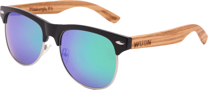 Women's Zebra Wood Half Frame Retro Shade Sunglasses - My Bikini Flex