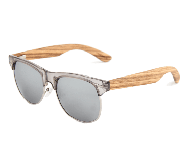 Women's Zebra Wood Retro Shade Grey Lens Sunglasses - My Bikini Flex