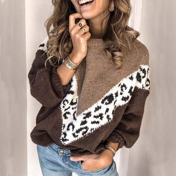 Womens Warm Loose Winter Sweater Thick Leopard Print Pullover - My Bikini Flex