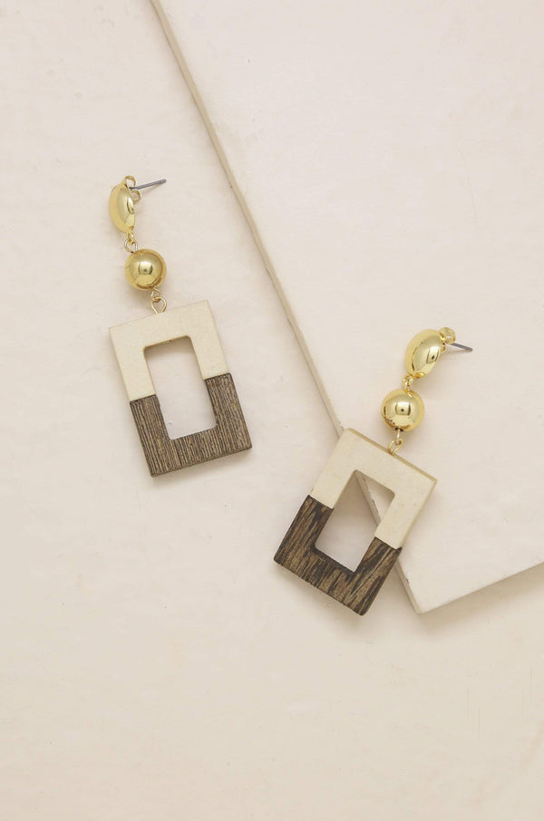 Wooden Color-Block Drop Earring - My Bikini Flex