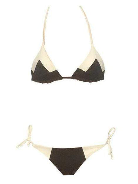 Black & Beige Cami Top Swimsuit With Tie Side Bikini Bottom (UPF50+) - My Bikini Flex